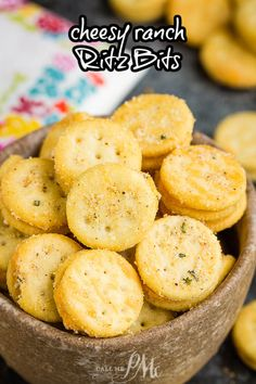 The perfect snackable treat, Cheesy Ranch Ritz Bits are seasoned with ranch seasoning, red pepper, and garlic. #ritzbits #snack #recipe #crackers #firecrackers #ranch Ritz Bits, Baking Recipes, Healthy Recipes, Ranch Seasoning, Appetizers, Sweets, Stuffed Peppers, Snacks, Cooking Recipes