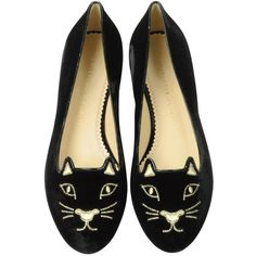 Charlotte Olympia Black Velvet Kitty Flats ($495) ❤ liked on Polyvore featuring shoes, flats, zapatos, flat shoes, charlotte olympia flats, metallic flats, pointy flats and flat pumps