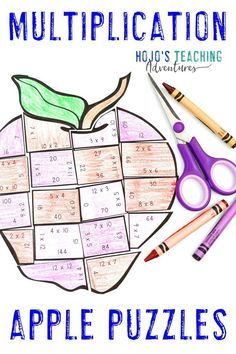 These MULTIPLICATION Apple Math Activities for 3rd, 4th, or 5th grade are great for centers, stations, early or fast finishers, review, test prep, back to school, a Johnny Appleseed unit, or anytime during the fall months. Click through now to learn more, grab a FREE printable, have some fun, work on your fine motor cutting skills, and more. #HoJoTeaches #AppleMathCenters #MultiplicationPuzzles 3rd Grade Classroom, 4th Grade Math, Grade 3, Apple Activities, Activities For Kids, Halloween Activities, Fun Math, Math Games, Fun Games