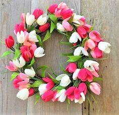 SPRING WREATH~PINK & WHITE TULIPS~DOOR WREATH DECORATION~NEW~FREE SHIPPING | Home & Garden, Home Décor, Floral Décor | eBay!