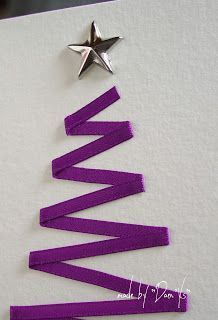 handmade Christmas card from Let's take time ...: C as Christmas tree ... purple ribbon Christmas tree ... photo tutorial on blog ... clean and simple design ... luv it!!