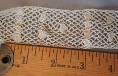 Antique Lace Trim 3-5/8 Yards Handmade Cotton Crochet Dress Lace 1900s Edwardian by dandelionvintage on Etsy