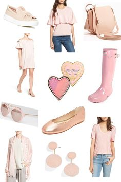 Favorite Blush Picks for Spring from Britt at SouthernMamaGuide.com || Pink || Pink Sunglasses || Pink Earrings || Pink Sneakers || Pink Ballet flats || Pink Hunter Boots || Pink Tank || Pink Too faced Blush || Pink Tassel Saddle Bag | Pink Tassel Scarf