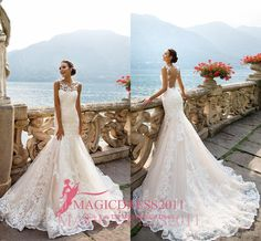 Milla Nova Winter 2016 Lace Mermaid Wedding Dresses Illusion Bodice Sheer Neck Heavily Embellishment Vintage Garden Beach Bridal Gowns Beach Wedding Gowns Crystal Weeding Dress Berta 2015 Bridal Gowns Online with 173.0/Piece on Magicdress2011's Store | DHgate.com