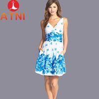 2014 nyári női ruha divat nyomtatás virágmintás virág ujjatlan V -neck d2209dc249