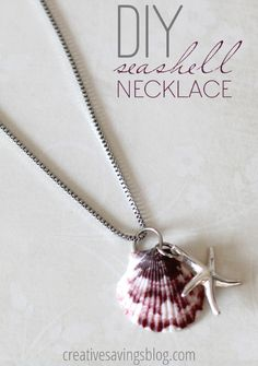 Seashell Necklace ~ just slip a jump ring through a natural hole in the shell and add a charm or bead  :)