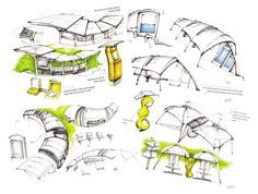 - by Qianru Zhang Roof Architecture, Concept Architecture, Biomimicry Architecture, Organic Architecture, Bus Stop Design, Bubble Diagram, Bus Stand, Conceptual Sketches, Beijing Olympics