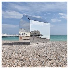 #DiaRecommends @ecearchitecture and @creativeforager's mirrored beach hut. Currently on view in the seaside town of Worthing, England. #diaartfoundation