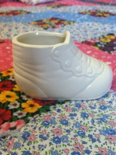Vintage White Baby Bootie, Baby Shoe, Planter Vase, Ceramic, Baby Shower, Mom to Be, Newborn, Button shoe, Nursery