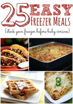 Do you hate the constant stress of figuring out what is for dinner every night? Take a look at these 25 Freezer Meals that you can use to stock-up your freezer!