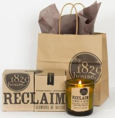 Reclaim Aromatherapy Candles by 1820 House Candle Co. Recycled Elements. Pure Plant Wax. Letterpress.
