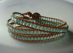 Sea Green Beaded Leather Wrap Bracelet with Daisy by tinacdesigns