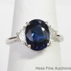 Approx 2.46ct Natural Sapphire Fine Diamond 18K White Gold Ring New With Tags #SolitairewithAccents