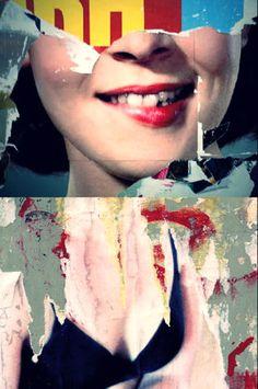Photo collage, suggestive femininity, manipulated advertising.