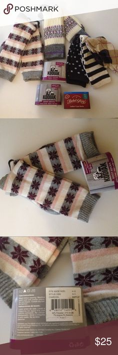 7 pairs of women's socks including 2 w/ wool blend Bundle includes 7 pairs of women's socks as follows: • 2 pairs of KODIAK boot socks w/ wool blend (1st pic./on the left, 2nd and 3rd pic.); • 2 pairs of KODIAK Nordic boot socks (1st pic./middle, 4th and 5th pic.) • 3 pairs Faded Glory ladies' crew socks (1st pic./on the right, 6th and 7th pic.). All NWT, all fit women's shoe size 4-10. See all pictures for patterns and fabric content. SMOKE-FREE items. No trades. Kodiak and Faded Glory…