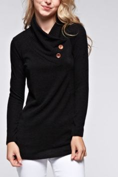 Turtle Drop Neck with Button Detail Sweater Top