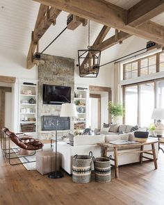 A big, cozy, rustic living space! interior SM Ranch House: The Living Room Living Room Flooring, Home Living Room, Living Room Designs, Wood Living Rooms, Living Room Set Ups, Living Room With Windows, Living Room Country, Living Room Couches, Living Room Layouts
