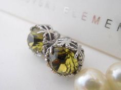 Handcrafted Khaki Green Stud Earrings made with Authentic Swarovski Elements. Art Deco Earrings, Art Deco Jewelry, Bridal Earrings, Stud Earrings, Pierced Earrings, Khaki Green, Color Khaki, Swarovski Crystal Earrings, Crystal Jewelry