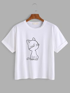 Shop Cat Print Cuffed Tee online. SheIn offers Cat Print Cuffed Tee & more to fit your fashionable needs.