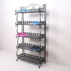 Cool Things To Buy, Stuff To Buy, Wrought Iron, Shoe Rack, Shelving, I Am Awesome, Bookcase, Simple, Slippers