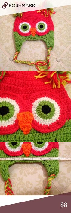 Handmade Owl Hat Item comes from a smoke and pet free boutique Handmade Accessories Hats