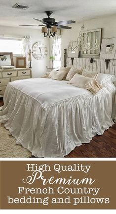 Love this french country, shabby chic look. Beautiful, romantic bedspread. Either in my guest bedroom or master bedroom. Haven't decided yet. #bedroom #bedroomdecor #frenchcountry #rustic #vintage #shabbychic #bedroomideas #affiliatelink #shabbychicbedroomsmaster #shabbychicbedroomsromantic