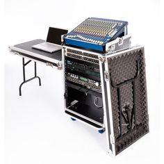DJ Workstation Flight Case Rack with Side Tables and Mixer Slant - Rack Flight Cases
