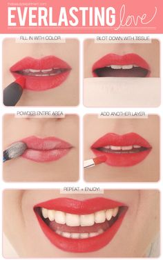 A great tip for lasting lip color: after putting on lipstick and blotting with tissue, apply powder to your lips and then another coat of lipstick.  Love it!  Red never stays on me!