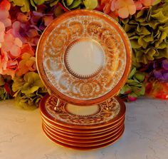 8 Antique Cauldon England ~ Tiffany & Co. Porcelain Plates ~ Gold Encrusted #CauldonTiffanyCo