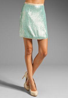 SHOSHANNA Sequin Elaina Layered Skirt in Spearmint/Nude