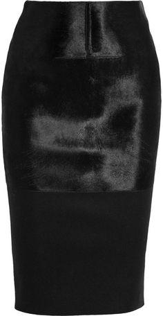 Victoria Beckham Calf Hair Paneled Felt Pencil Skirt