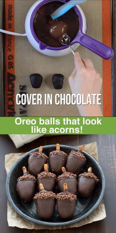 Mexican Dessert Recipes Discover Fall Acorn Oreo Balls These are SO adorable! Peanut butter oreo balls made to look like acorns! Such a fun treat to make for fall - acorn oreo balls! Holiday Desserts, Holiday Treats, Just Desserts, Dessert Recipes, Fire Pit Desserts, Desserts Caramel, Finger Food Desserts, Christmas Sweets, Dessert Party