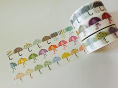 Umbrella Washi Tape in 3 Patterns by GoatGirlMH on Etsy