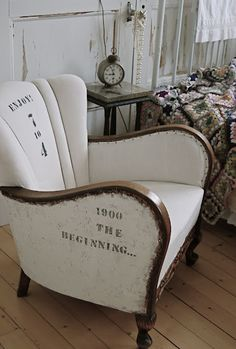 a wonderful industrial linen chair
