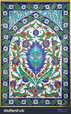 Turkish Tiles (Floral Red, Blue And Green Ornament) Stok Fotoğrafı 17181316 : Shutterstock