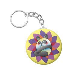 Lindo oso panda sobre flor multicolor. Bear. Producto disponible en tienda Zazzle. Product available in Zazzle store. Regalos, Gifts. Link to product: http://www.zazzle.com/lindo_oso_panda_sobre_flor_multicolor_basic_round_button_keychain-146715930609517968?CMPN=shareicon&lang=en&social=true&rf=238167879144476949 #llavero #KeyChain