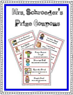 This file is a 7 page download. You will find 20 different prize coupons to award your class with. This is a great addition to your award system ...