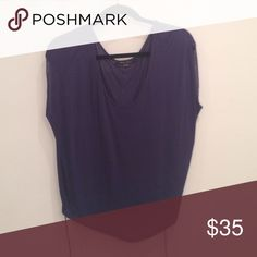 Super light cotton top, navy Navy blouse with draw string bottom hem Tops Blouses