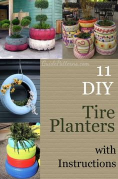 11 DIY Tire Planters Ideas with detailed tutorials.