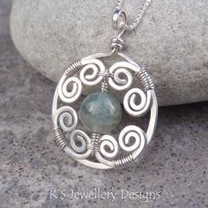 Wire wrapped stone pendant or earring design