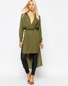 Image 1 of Missguided Step Hem Wrap Top