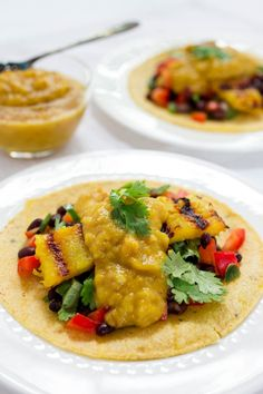 Grilled Pineapple & Black Bean Tacos with Curried Mango Pear Chutney #vegan #vegetarian #gluten free