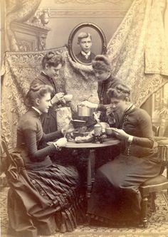 """Photograph of ladies at tea, 1880s, from the collection of the Chemung County Historical Society """""""