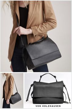 This von Holzhausen handheld bag is ideal for work, play and travel. It's a great addition to your capsule wardrobe. Removable and adjustable cross-body straps allow this bag to be handheld or worn as a messenger bag. The bag has a lightweight construction, magnetic closure, two pockets on the interior and is lined with Japanese suede. It also comes with a removable wallet.