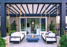 Oversized swing beds hang from pergola Backyard design ideas Oversized swing bed. Oversized swing beds hang from pergola Backyard design ideas Oversized swing bed Oversized swing bed modern design Pergola With Roof, Outdoor Pergola, Backyard Pergola, Outdoor Decor, Pergola Swing, Pergola Lighting, Cheap Pergola, Covered Pergola, Black Pergola