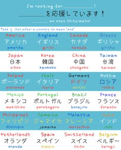 How to say you're rooting for a certain country, names of different countries around the world. -- Japan, Japanese words, vocabulary, learning different languages, infographic, sentence examples, kanji, sports, communication