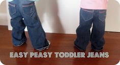 Make Your Own Toddler Jeans EASY TUTORIAL-similar to how I made my sons. they didn't have cute baby jeans back then. Toddler Jeans, Baby Jeans, Toddler Outfits, Kids Outfits, Sewing Patterns For Kids, Sewing For Kids, Baby Sewing, Sewing Ideas, Sewing Tutorials