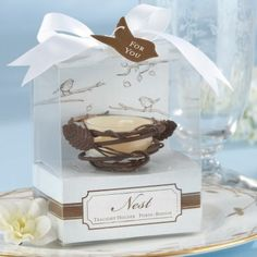 Bird nest tea candle party favors.