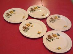 Retro 1950's rose plates x 5 by JulesetVianne on Etsy, £5.00