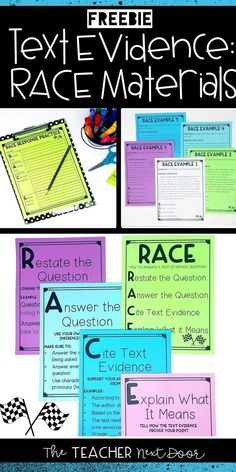 RACE Materials for Constructed Response Races Writing Strategy, Race Writing, Writing Strategies, Teaching Writing, Writing Lab, Paragraph Writing, Teaching Time, Writing Ideas, Teaching Ideas